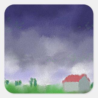 Adesivo Quadrado Chuva com arte do celeiro