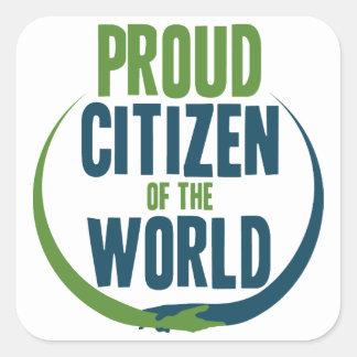 Adesivo Quadrado Cidadão orgulhoso do mundo