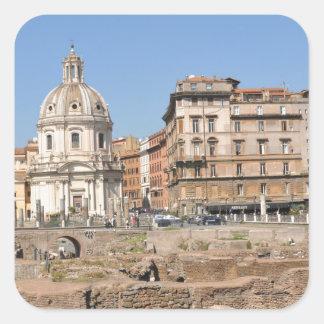Adesivo Quadrado Cidade antiga de Roma, Italia
