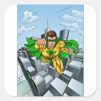 Adesivo Quadrado Cidade do super-herói do vôo da banda desenhada