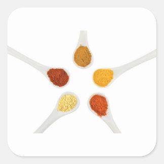 Adesivo Quadrado Cinco especiarias de tempero em colheres da