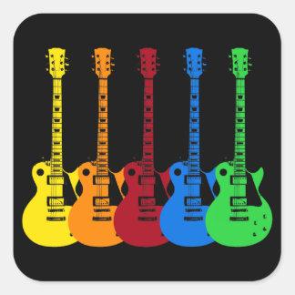 Adesivo Quadrado Cinco guitarra elétricas