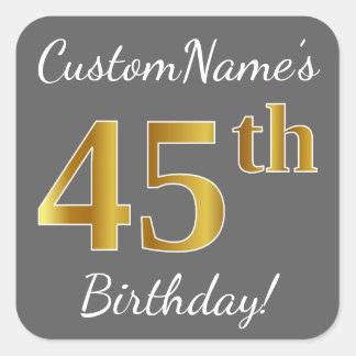 Adesivo Quadrado Cinzas, aniversário do ouro do falso 45th + Nome