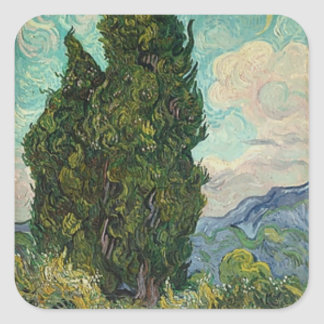 Adesivo Quadrado Ciprestes de Van Gogh