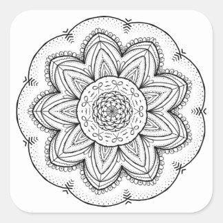 Adesivo Quadrado Círculo preto & branco da mandala tirada mão da