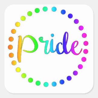 Adesivo Quadrado Círculos do arco-íris do orgulho