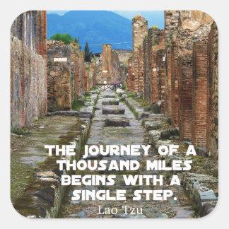 Adesivo Quadrado Citações do viagem da VIAGEM de Tzu do Lao