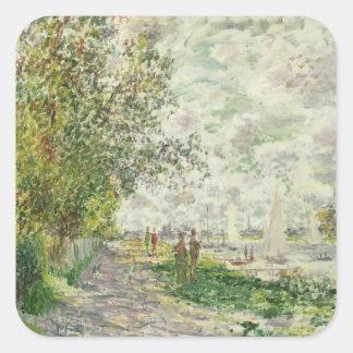 Adesivo Quadrado Claude Monet   o Riverbank em Gennevilliers
