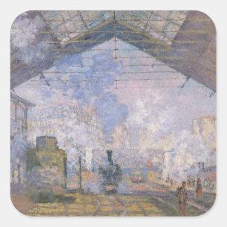 Adesivo Quadrado Claude Monet   o St. Lazare de Gare, 1877