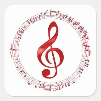 Adesivo Quadrado Clef de triplo vermelho em notas da música