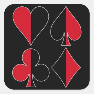 Adesivo Quadrado Clube do diamante da pá do coração
