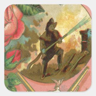 Adesivo Quadrado Cobrir do sapador-bombeiro do bombeiro dos 1880's