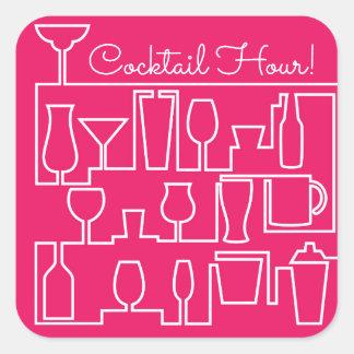 Adesivo Quadrado Cocktail cor-de-rosa
