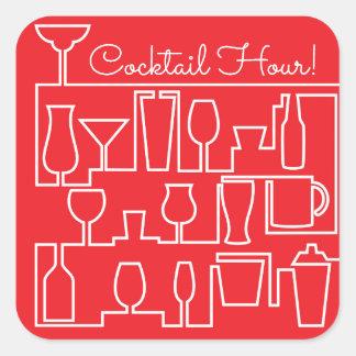 Adesivo Quadrado Cocktail vermelho