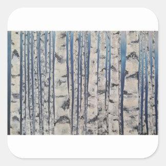 Adesivo Quadrado Código Morse das árvores de vidoeiro