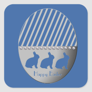 Adesivo Quadrado Coelhos do ovo da páscoa azuis