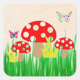 Adesivo Quadrado Cogumelos