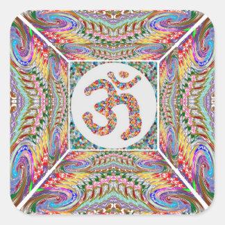 Adesivo Quadrado Coleção da jóia da mantra do OM
