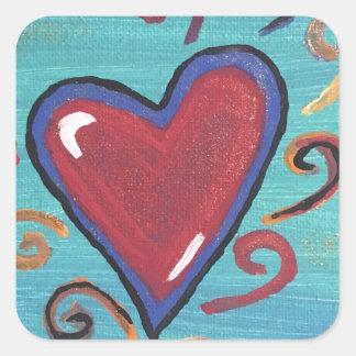 Adesivo Quadrado Coleção vermelha dos corações