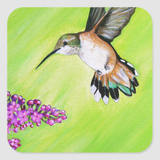 Adesivo Quadrado Colibri e Lilac