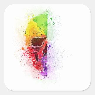 Adesivo Quadrado Colorful Skull - Caveira Colorida