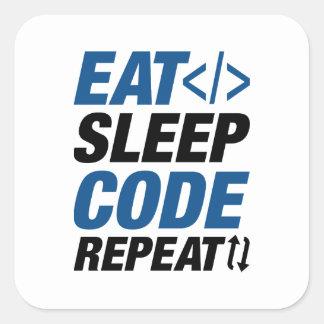 Adesivo Quadrado Coma a repetição do código do sono