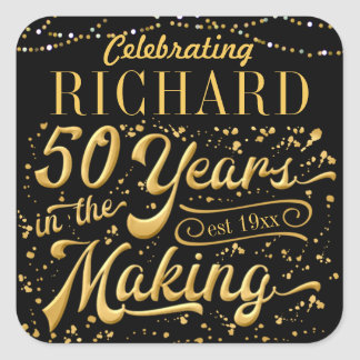 Adesivo Quadrado Comemorando 50 anos no fazer (50th aniversário)