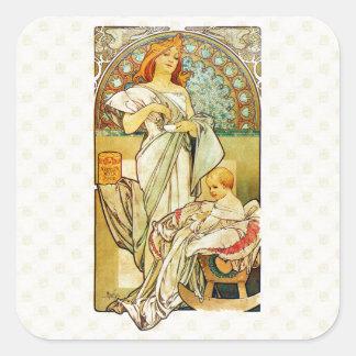 Adesivo Quadrado Comida 1898 de Alfons Mucha para crianças