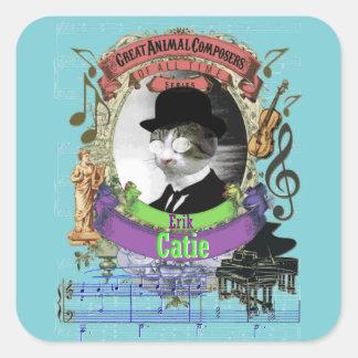 Adesivo Quadrado Compositor do animal do gato de Erik Catie