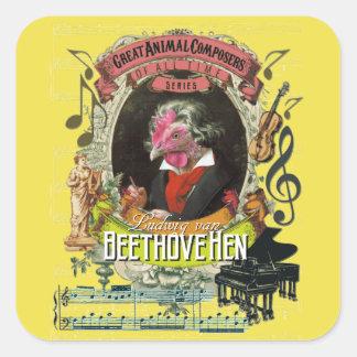 Adesivo Quadrado Compositores animais Beethoven da galinha de