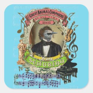 Adesivo Quadrado Compositores animais Schubert do pássaro engraçado