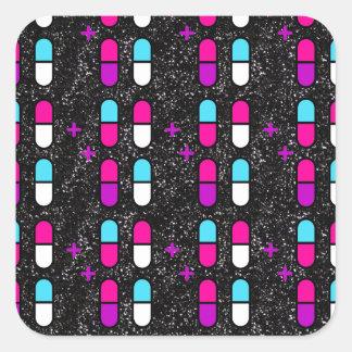 Adesivo Quadrado comprimidos cor-de-rosa do brilho
