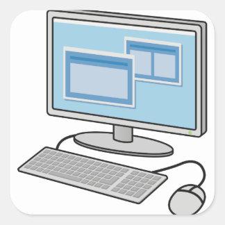 Adesivo Quadrado Computador de secretária