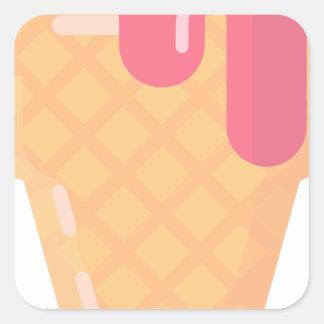Adesivo Quadrado Cone bonito do sorvete