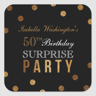Adesivo Quadrado Confetes do ouro & festa de aniversário preta da