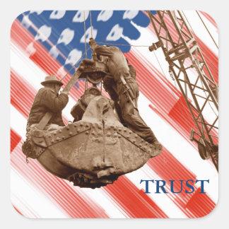 Adesivo Quadrado Confiança noroeste da bandeira dos EUA do