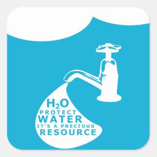 Adesivo Quadrado Conservação de água e Sustainablity