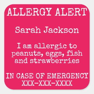 Adesivo Quadrado Contato do alerta da alergia de comida em caso de