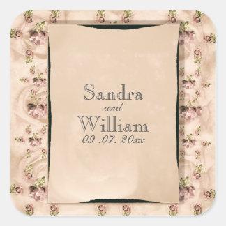 Adesivo Quadrado Convite cor-de-rosa do casamento do vintage