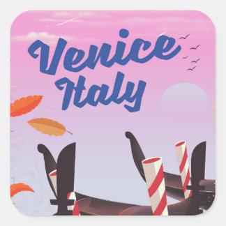 Adesivo Quadrado Cópia das férias da gôndola de Veneza Italia