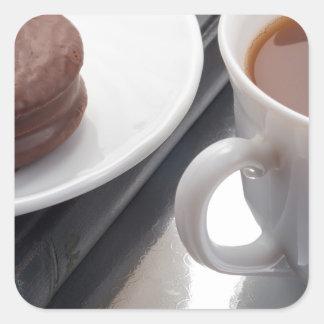 Adesivo Quadrado Copo branco com cacau e o biscoito com cobertura