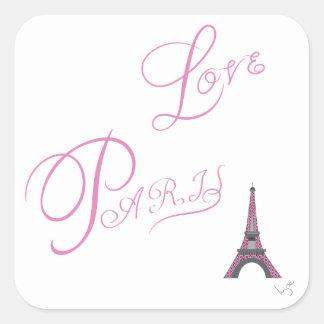 Adesivo Quadrado Cor-de-rosa-Amor-Paris-Eiffel-Torre-Original