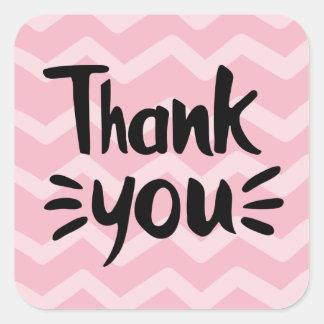 Adesivo Quadrado Cor-de-rosa & cora o obrigado que do preto das
