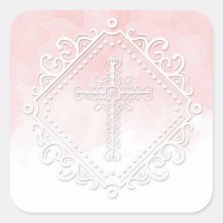 Adesivo Quadrado Cora a aguarela Crucufix religioso