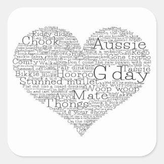 Adesivo Quadrado Coração australiano do calão