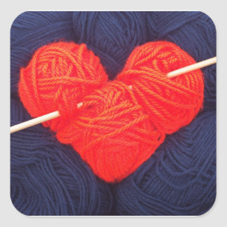 Adesivo Quadrado Coração bonito de lãs com a fotografia da agulha