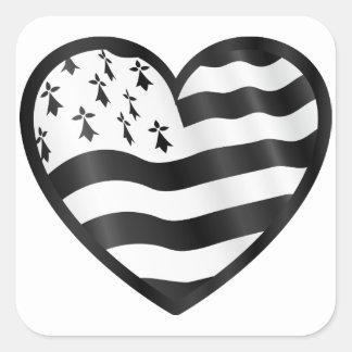 Adesivo Quadrado Coração com bandeira de Bretin para dentro