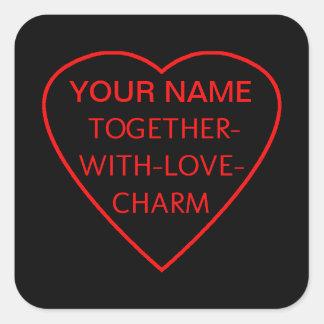 Adesivo Quadrado Coração com TOGETHER-WITH-LOVE-CHARM Switchwords