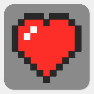 Adesivo Quadrado coração de 8 bits (cheio)