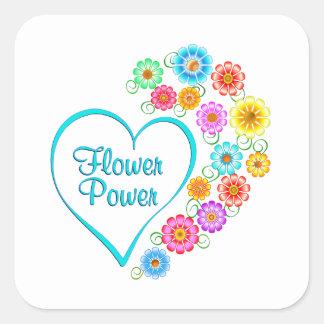 Adesivo Quadrado Coração de flower power